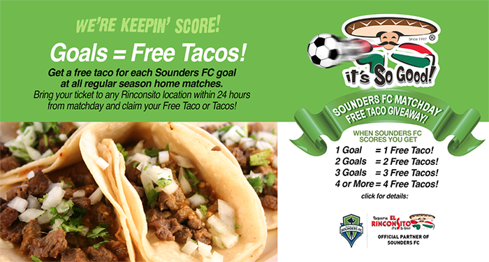 Free Taco Giveaway with ticket for Sounders FC goals scored at all regular season home match